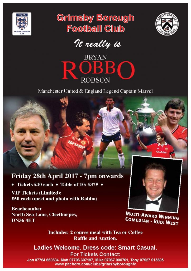 Manchester United & England Legend Brian Robson Sports Dinner. Book a table or individual tickets.