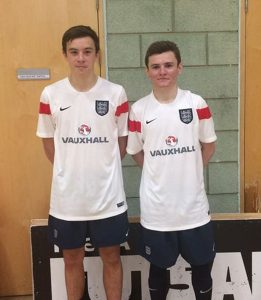 Former Grimsby Futsal League players Adam Williamson and Kyle Hulse play for England U19s