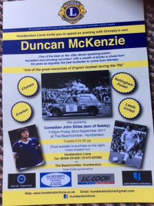 Support Humberston Lions, Beachcomber Friday 22nd September; guest speaker Duncan McKenzie.