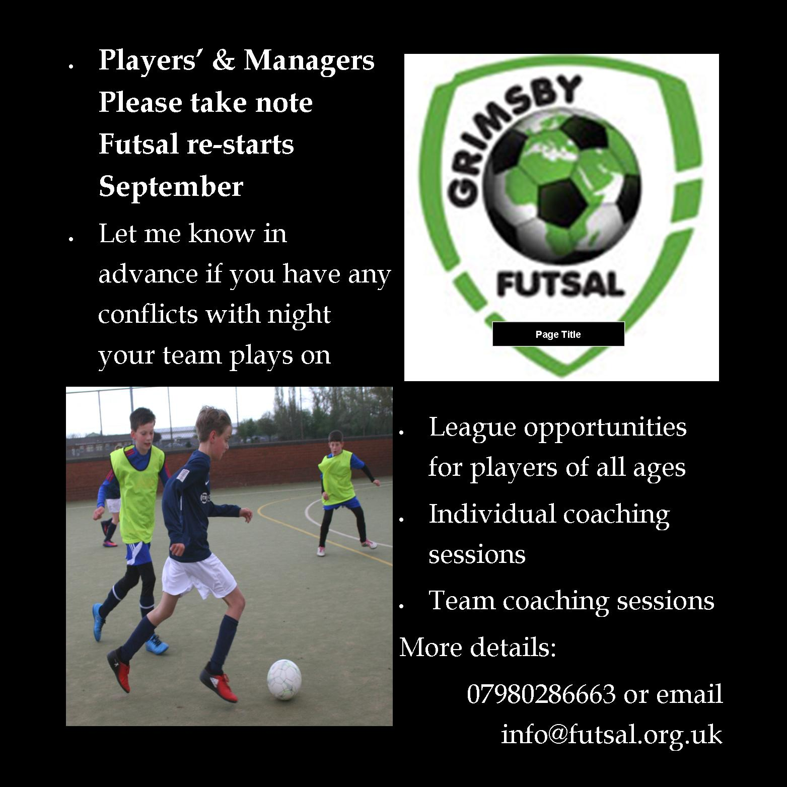 Darker nights closing in, prepare for Grimsby Futsal Leagues re-start