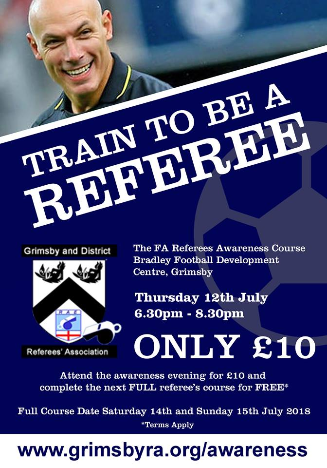 Next referee course 12th July at Bradley