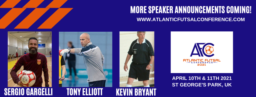 Great Honour to be added as a Guest Speaker to Atlantic Futsal Conference, St Georges Park, April 10th and 11th, St Georges Park.
